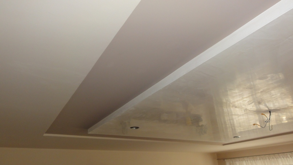 Different colors of different ceiling height from plasterboard