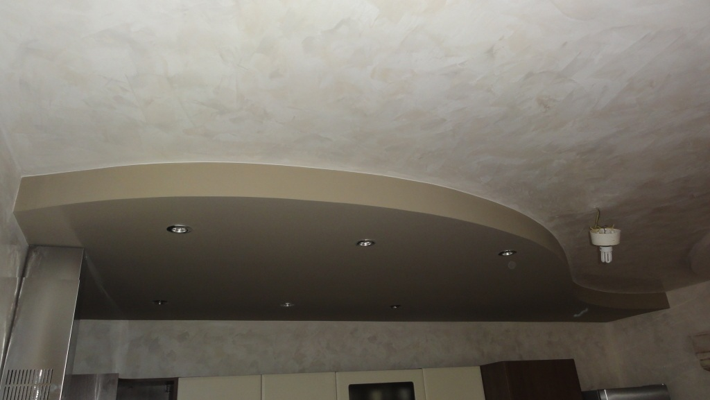Plasterboard above the kitchen line with spotlights